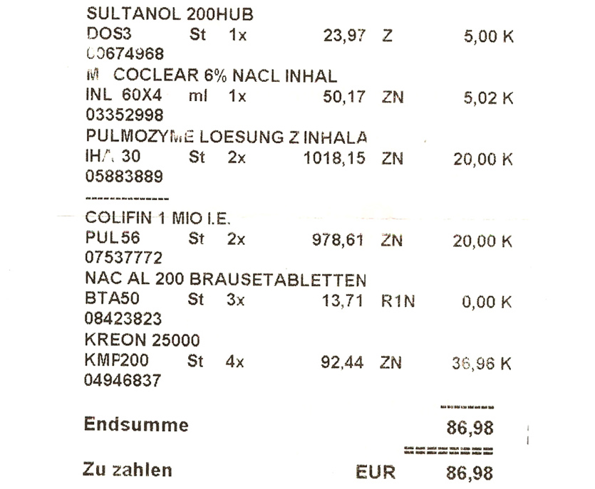 Mój pierwszy rachunek za zakupione Niemczech leki