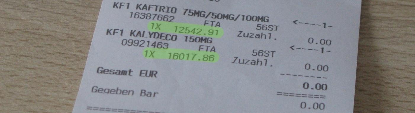 Rachunek za Kaftrio i Kalydeco na kwotę ponad 28.000 euro