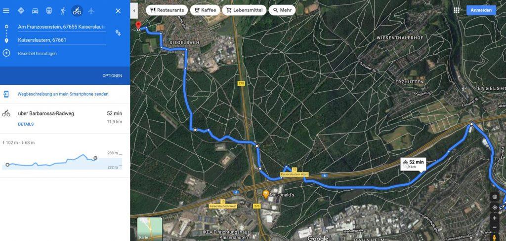 Sobotnia trasa z Kaiserslautern do Siegelbach